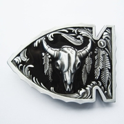 New Vintage Black Enamel Arrowhead Bull Native American Belt Buckle Gurtelschnalle Boucle de ceinture