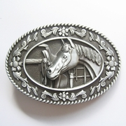 New Vintage Horse Head Saddle Western Oval Belt Buckle Gurtelschnalle Boucle de ceinture