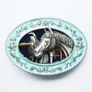 New Enamel Horse Head Saddle Western Oval Belt Buckle Gurtelschnalle Boucle de ceinture