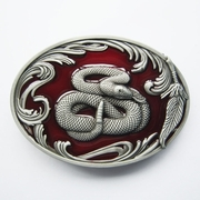New Vintage Red Enamel Wildlife Snake Western Oval Belt Buckle Gurtelschnalle Boucle de ceinture
