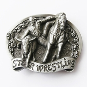 New Vintage Original Rodeo Steer Wrestling Western Belt Buckle Gurtelschnalle Boucle de ceinture
