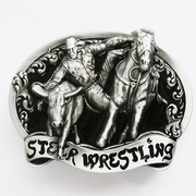 New Vintage Original Black Enamel Rodeo Steer Wrestling Western Belt Buckle Gurtelschnalle Boucle de ceinture