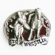 New Vintage Original Red Enamel Rodeo Steer Wrestling Western Belt Buckle Gurtelschnalle Boucle de ceinture