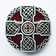 New Vintage Red Enamel Knot Cross Totem Round Belt Buckle Gurtelschnalle Boucle de ceinture