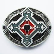 New Classic Vintage Enamel Native American Cross Oval Belt Buckle Gurtelschnalle Boucle de ceinture