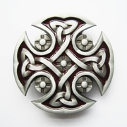 Jeansfriend New Red Enamel Celtic Knot Cross Vintage Belt Buckle