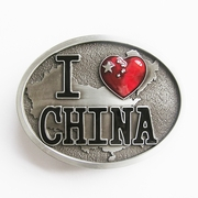 New Jean's Friend Original Enamel I Love China Chinese Map Flag Oval Belt Buckle