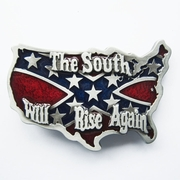 South Rise Again Cross Star Map Flag Belt Buckle Gurtelschnalle Boucle de ceinture
