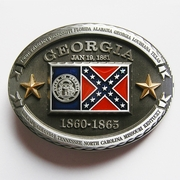 New Vintage Georgia Flag Oval Belt Buckle Gurtelschnalle Boucle de ceinture BUCKLE-FG011