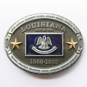 New Vintage Oval Louisiana State Flag Belt Buckle Gurtelschnalle Boucle de ceinture BUCKLE-FG021