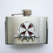 Enamel Iron Cross Celtic Knot 3oz Stainless Steel Flask Belt Buckle