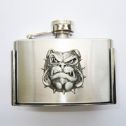 Enamel British Bull Dog 3oz Stainless Steel Flask Belt Buckle