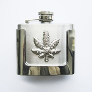 JEAN'S FRIEND Rhinestone Marple Leaf 2 oz Stainless Steel Flask Belt Buckle