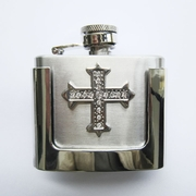 JEAN'S FRIEND Rhinestone Iron Cross 2 oz Stainless Steel Flask Belt Buckle