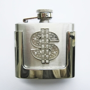 JEAN'S FRIEND Rhinestone US Dollar Sign 2 oz Stainless Steel Flask Belt Buckle