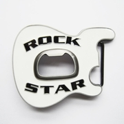 New Vintage White Enamel Rock Music Star Guitar Belt Buckle With Beer Bottle Opener BUCKLE-MU102WH