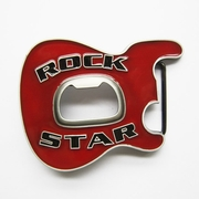 New Vintage Red Enamel Rock Music Star Guitar Belt Buckle With Beer Bottle Opener BUCKLE-MU102RD