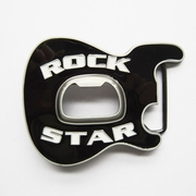 New Vintage Black Enamel Rock Music Star Guitar Belt Buckle With Beer Bottle Opener BUCKLE-MU102BK