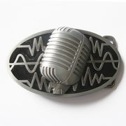New Vintage Black Enamel Microphone Music Oval Belt Buckle Gurtelschnalle Boucle de ceinture BUCKLE-MU072BK