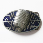 New Vintage Blue Enamel Microphone Music Oval Belt Buckle Gurtelschnalle Boucle BUCKLE-MU072BL
