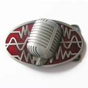 New Vintage Red Enamel Microphone Music Oval Belt Buckle Gurtelschnalle Boucle BUCKLE-MU072RD
