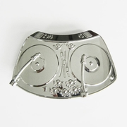 Belt Buckle (Bright Silver DJ Music Turntable)