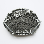 New Vintage I Love Western Country Music Belt Buckle Gurtelschnalle Boucle de ceinture BUCKLE-MU096AS