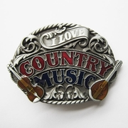 New Vintage Enamel I Love Western Country Music Belt Buckle Gurtelschnalle Boucle de ceinture BUCKLE-MU096