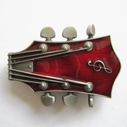 New Vintage Original Red Enamel Guitar Music Belt Buckle Gurtelschnalle Boucle de ceinture