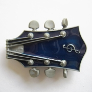 New Vintage Original Blue Enamel Guitar Music Belt Buckle Gurtelschnalle Boucle de ceinture