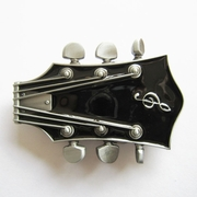 New Vintage Original Black Enamel Guitar Music Belt Buckle Gurtelschnalle Boucle de ceinture