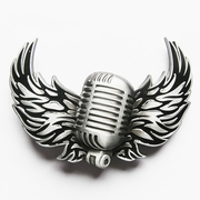 New Vintage Original Microphone Flying Wings Rock Music Belt Buckle Gurtelschnalle Boucle de ceinture BUCKLE-MU113