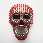 New Red Rhinestones Skull Bling Bling Belt Buckle Gurtelschnalle Boucle de ceinture BUCKLE-SK021RD