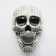 New Clear Rhinestones Skull Bling Bling Belt Buckle Gurtelschnalle Boucle de ceinture BUCKLE-SK021CL