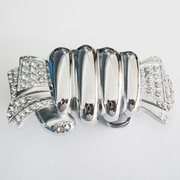 Fist Hand Full of Cash Clear Rhinestones Belt Buckle
