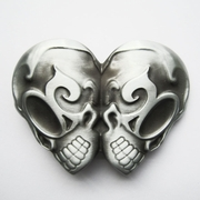 New Gothic EMO Double Head Skull Vintage Belt Buckle Gurtelschnalle Boucle de ceinture