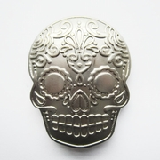 New Original Matter Silver Plated Tattoo Skull Belt Buckle Gurtelschnalle Boucle de ceinture BUCKLE-SK027AS