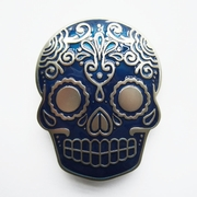New Blue Enamel Matter Silver Plated Tattoo Skull Belt Buckle Gurtelschnalle Boucle de ceinture