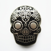 New Black Enamel Matter Silver Plated Tattoo Skull Belt Buckle Gurtelschnalle Boucle de ceinture