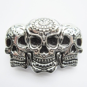 New Bright Silver Tattoo Skulls Belt Buckle Gurtelschnalle Boucle de ceinture BUCKLE-SK025