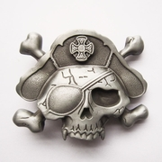 New Vintage Skull Bone Pirate Hat Eye Patch Belt Buckle Gurtelschnalle Boucle de ceinture BUCKLE-SK017AS