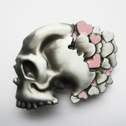 New Vintage Original Pink Cute Girl Heart Skull Head Belt Buckle Gurtelschnalle Boucle de ceinture BUCKLE-SK016