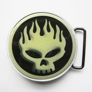 New Picture Inlayed Flame Skull Punk Music Belt Buckle