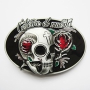 New Vintage Oval Tattoo Rose Flower Skull Wedding Belt Buckle Gurtelschnalle Boucle de ceinture BUCKLE-SK035