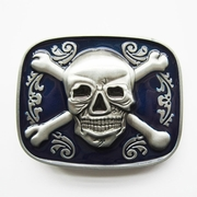 New Vintage Blue Enamel Skull Bones Jolly Roger Pirate Belt Buckle