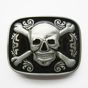 New Vintage Black Enamel Skull Bones Jolly Roger Pirate Belt Buckle