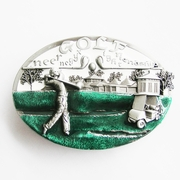 New Vintage White Enamel Golf Golf Club Golf Sport Belt Buckle Gurtelschnalle Boucle de ceinture
