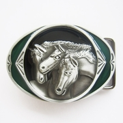 New Vintage Green Enamel Three Horses Western Oval Belt Buckle Gurtelschnalle Boucle de ceinture