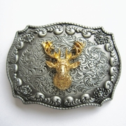 JEAN'S FRIEND New Original Western Cowboy Wildlife Deer Head Double Color Belt Buckle Gurtelschnalle Boucle de ceinture