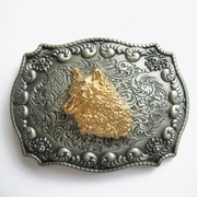 JEAN'S FRIEND New Original Western Cowboy Wildlife Wolf Head Double Color Belt Buckle Gurtelschnalle Boucle de ceinture
